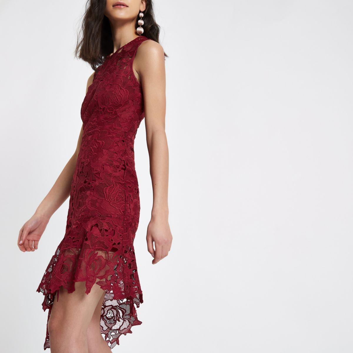 Dark red lace asymmetric hem midi dress