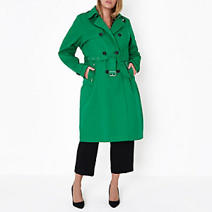 Plus green belted trench coat