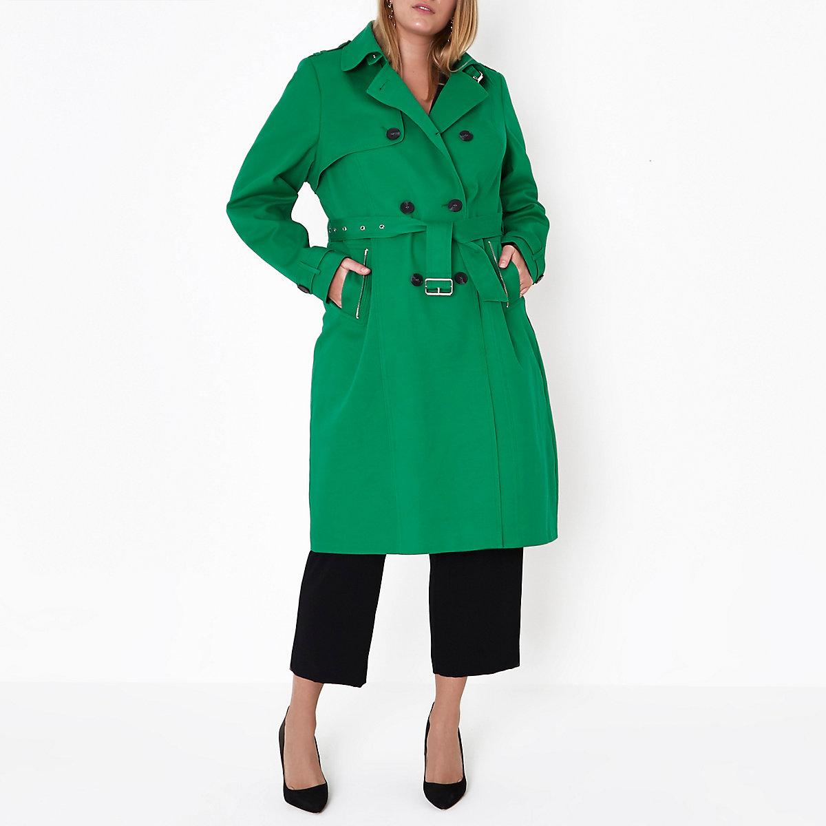 Plus – Trench vert à ceinture - Vestes - Manteaux   Vestes - Femme 83abbfb18e3