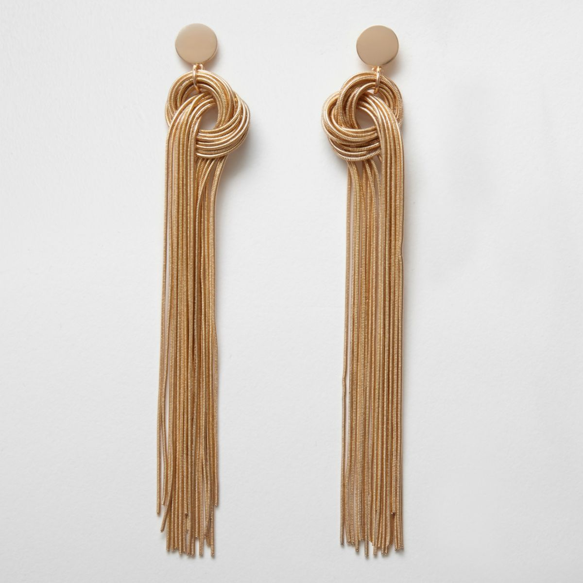 Gold tone snake chain knot drop earrings
