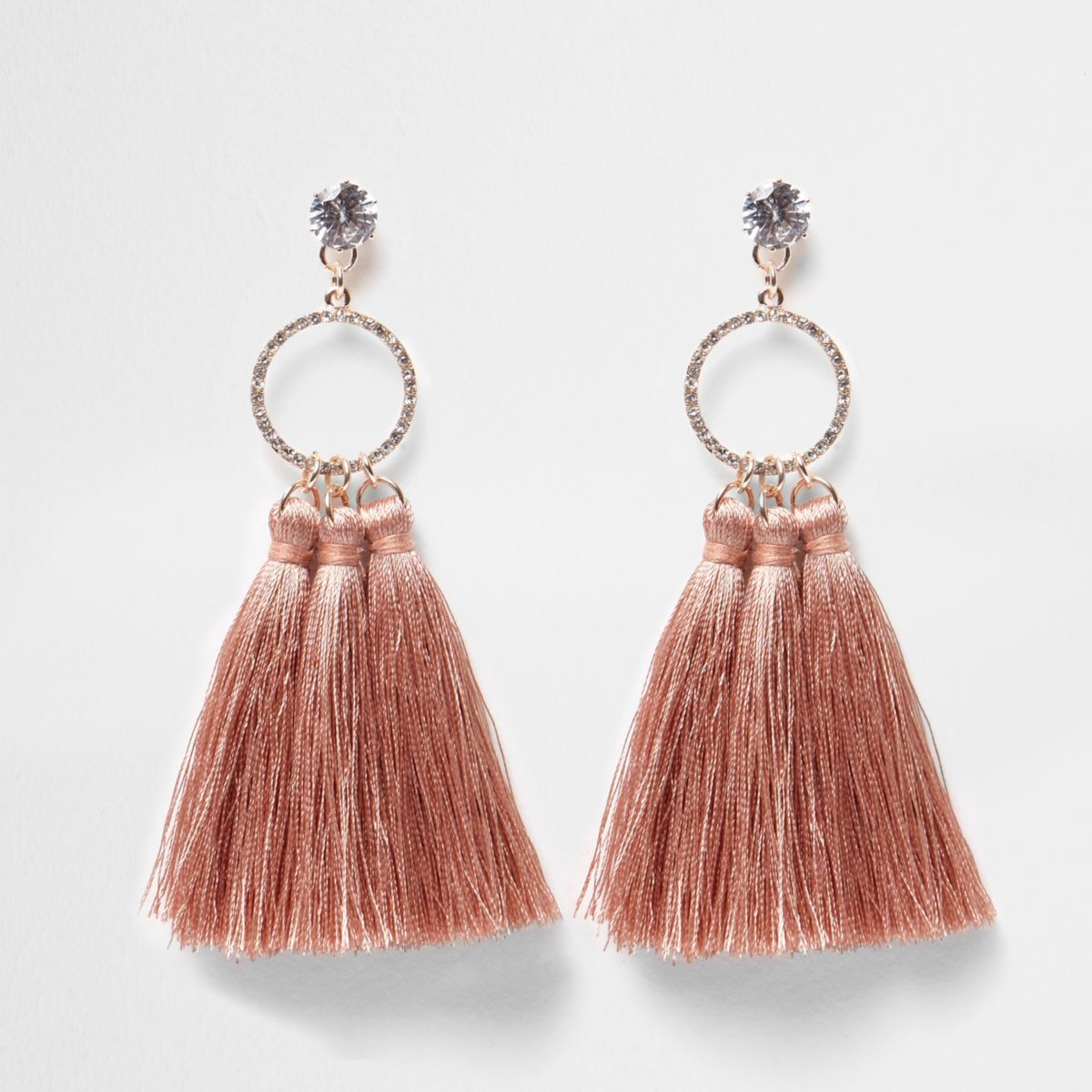 Pink tassel diamante pave circle earrings