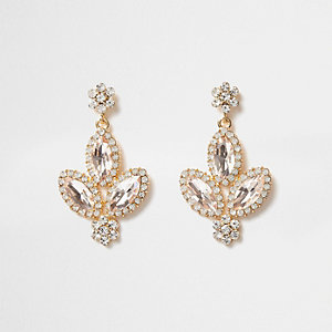 Gold tone jewel embellished drop earrings