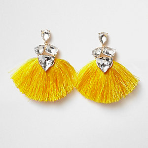 Yellow jewel tassel drop earrings