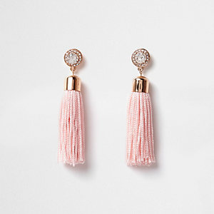 Blush pink rhinestone tassel drop earrings