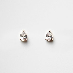 Cubic zirconia rhinestone stud earrings