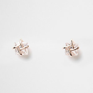 Cubic zirconia rose gold cube jewel earrings