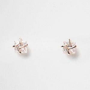 Cubic zirconia rose gold cube jewel earrings