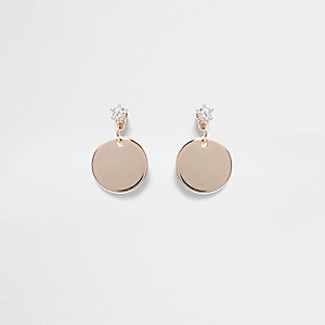 Rose gold tone disc stud earrings