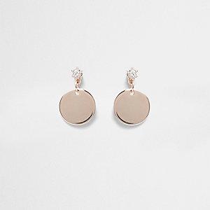 Rose gold tone disc stud earrings