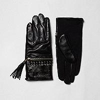 Coffret cadeau avec gants en cuir noir zippés à pampilles