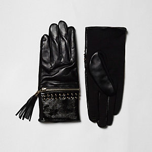 Black leather tassel zip gloves gift box