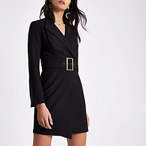 Black bell sleeve belted tuxedo mini dress
