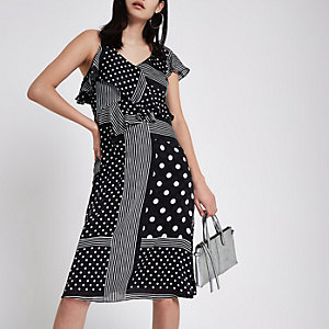 Black polka dot tie waist frill midi dress
