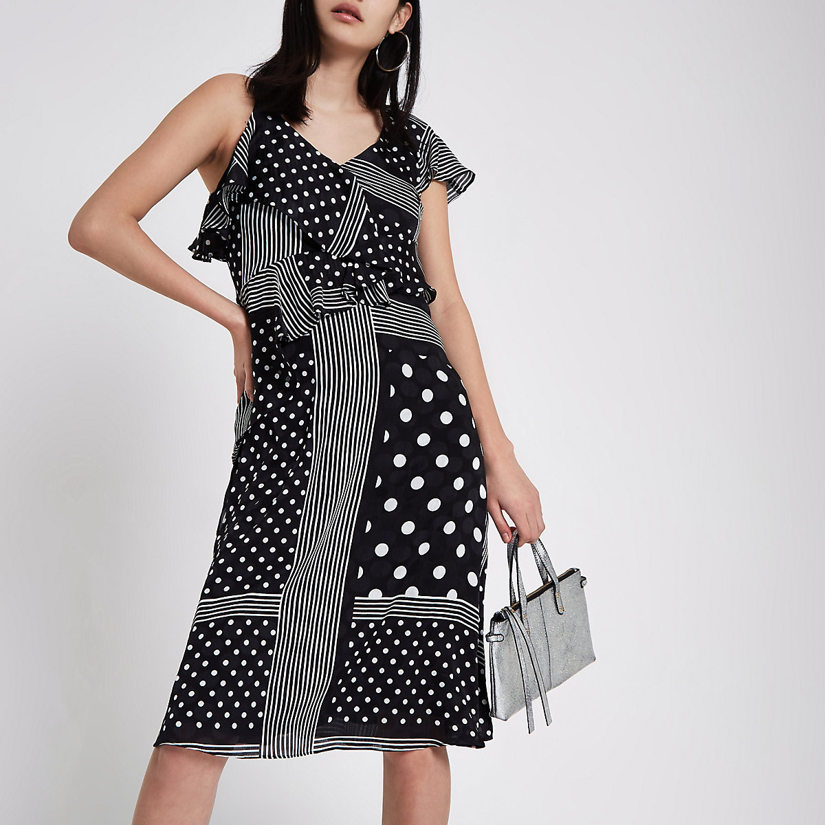 Black polka dot tie waist frill midi dress