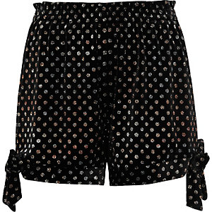 Black velvet glitter polka dot bow hem shorts
