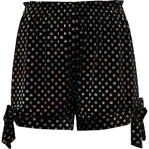 Black velvet glitter polka dot bow hem shorts