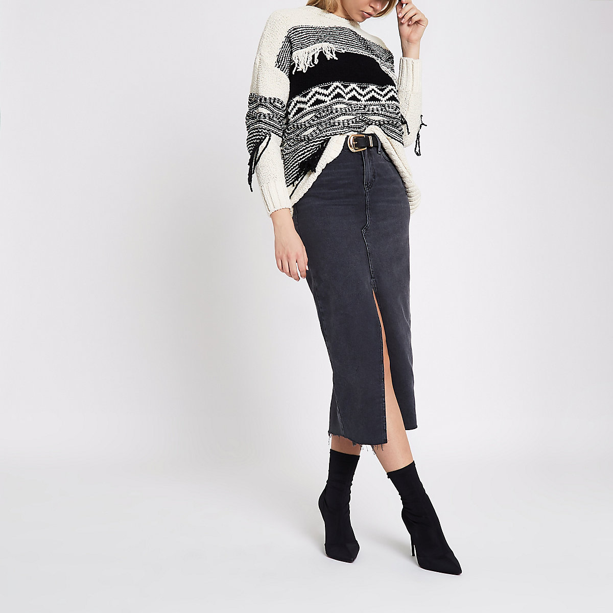 Washed black split front denim pencil skirt