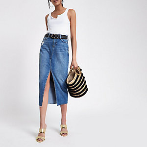 Mid blue split front denim midi skirt