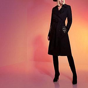 Black RI Studio jewel embellished trench coat
