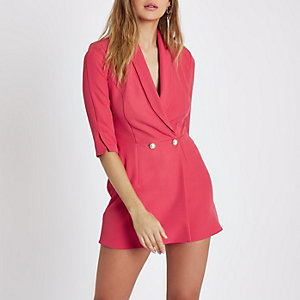 Pink faux pearl button tuxedo playsuit