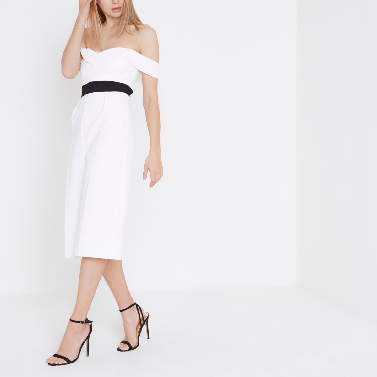 White bardot culotte jumpsuit