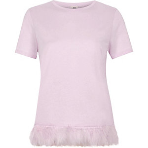 Light pink feather hem T-shirt
