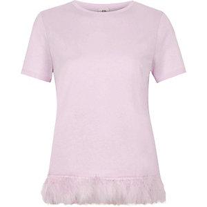 Light pink feather hem T-shirt
