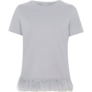 Grey feather hem T-shirt