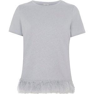 Grey feather hem T-shirt