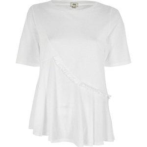 White asymmetric ruffle front T-shirt