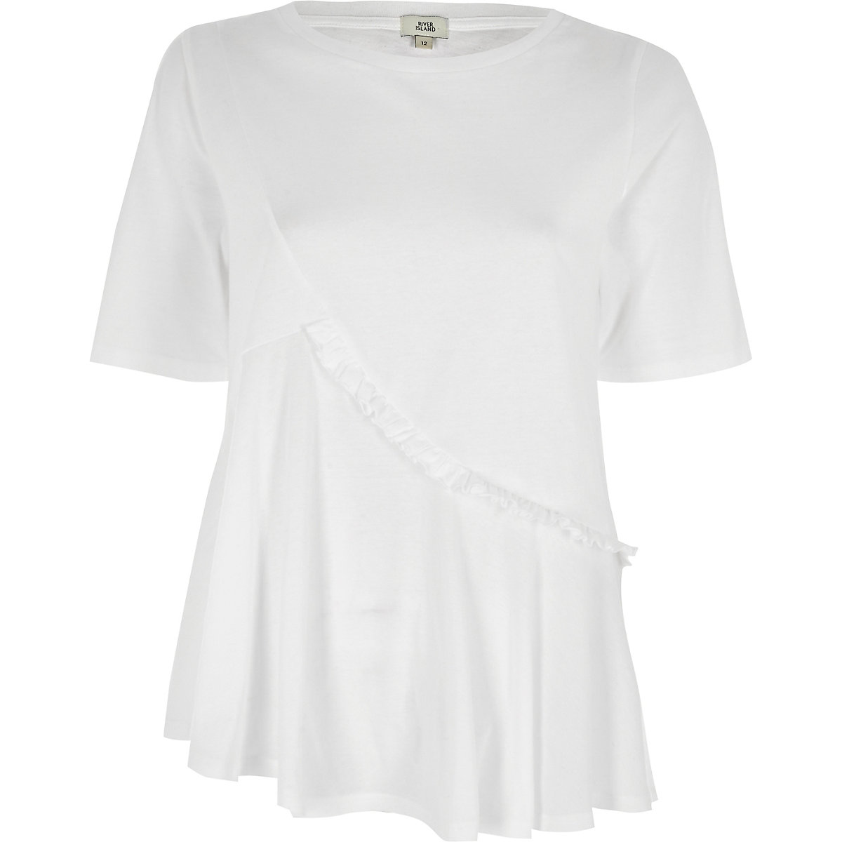 0cd05747f95 White asymmetric ruffle front T-shirt - T-Shirts - Tops - women