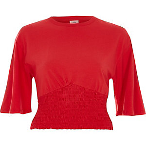 Red shirred hem wide sleeve crop top