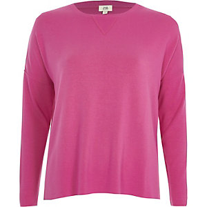 Bright pink ribbed sleeve sweatshirt