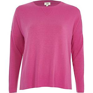 Bright pink ribbed sleeve sweatshirt
