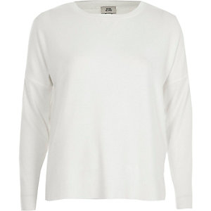 Cream ribbed sleeve sweatshirt