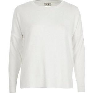 Crème sweatshirt met geribbelde mouwen