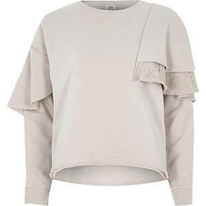 Beige lace frill sweatshirt