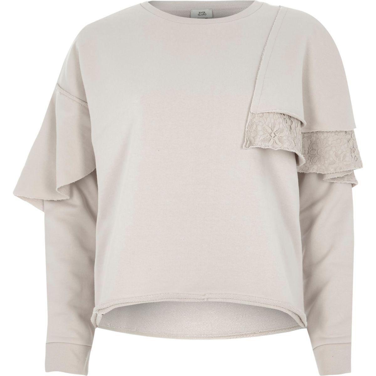 Sweatshirt mit Spitze und Rüschen