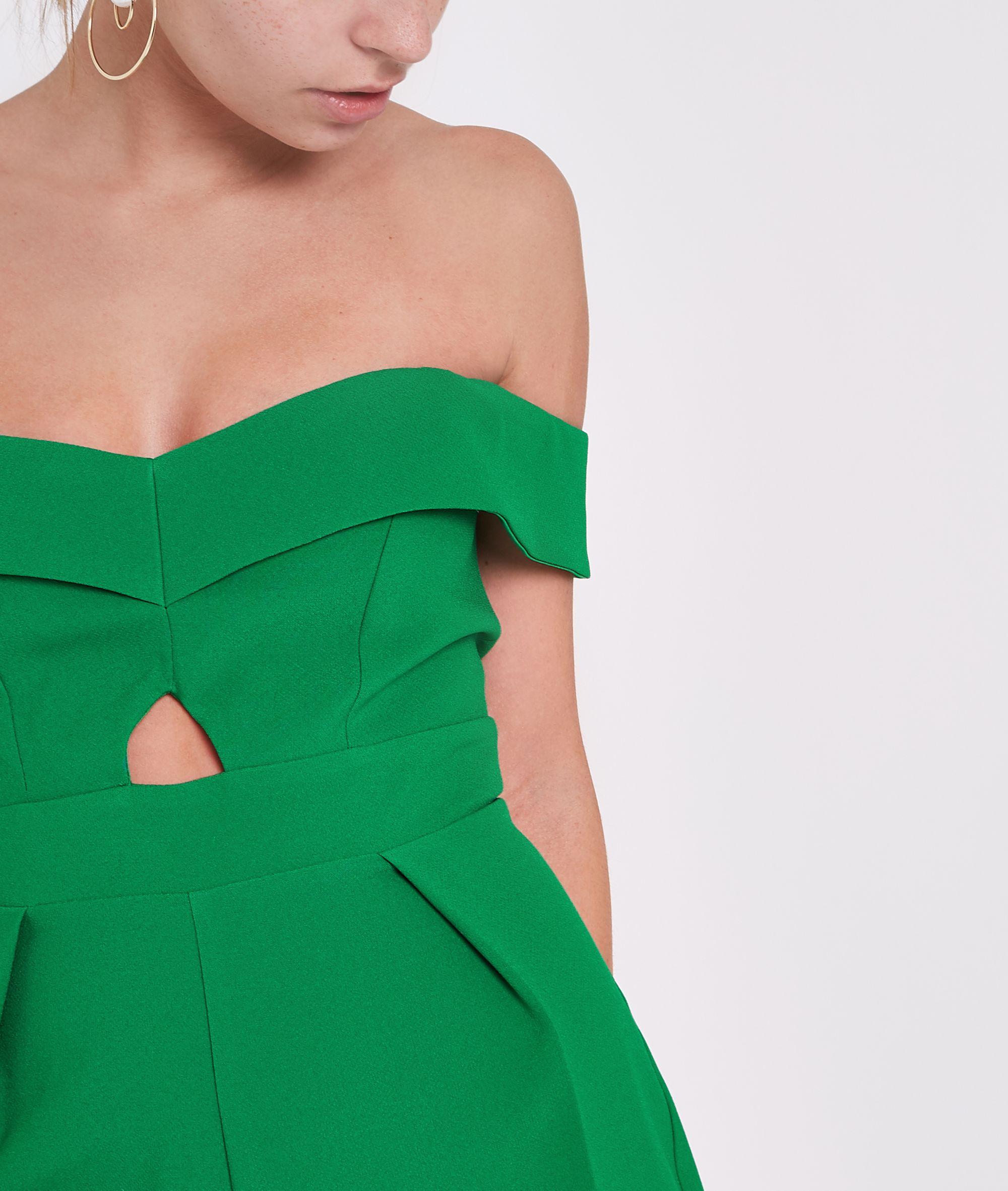 c5c8557300f1 River Island Petite green bardot cut out culotte jumpsuit at £25 ...