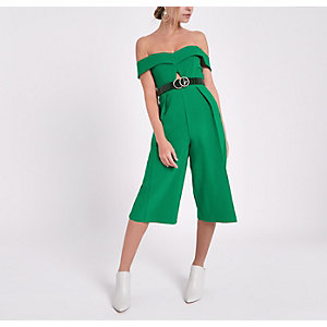 Petite green bardot cut out culotte jumpsuit
