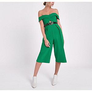 RI Petite - Groene jumpsuit in bardotstijl met uitsnede en broekrok