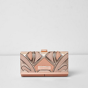 Coral pink cutabout metallic clip top purse