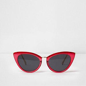 Lunettes de soleil œil de chat rose vif à verres fumés