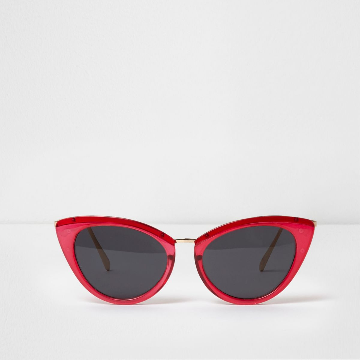 Bright pink cat eye smoke lens sunglasses