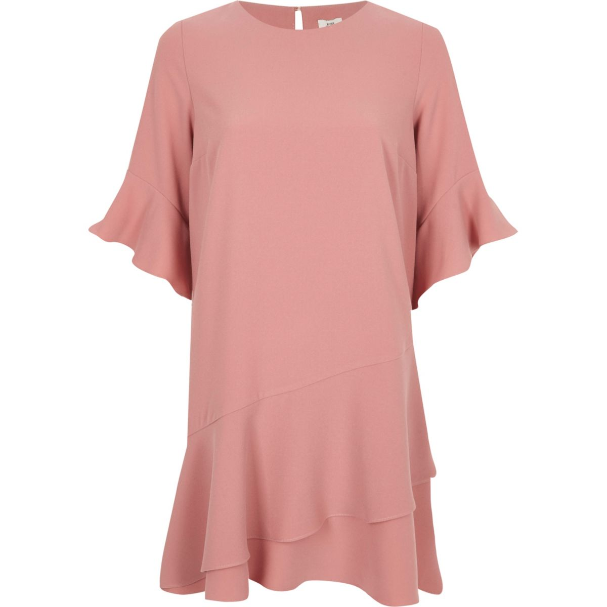 Light pink frill peplum hem swing dress