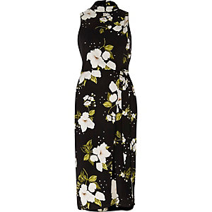 Black floral high neck wrap midi dress