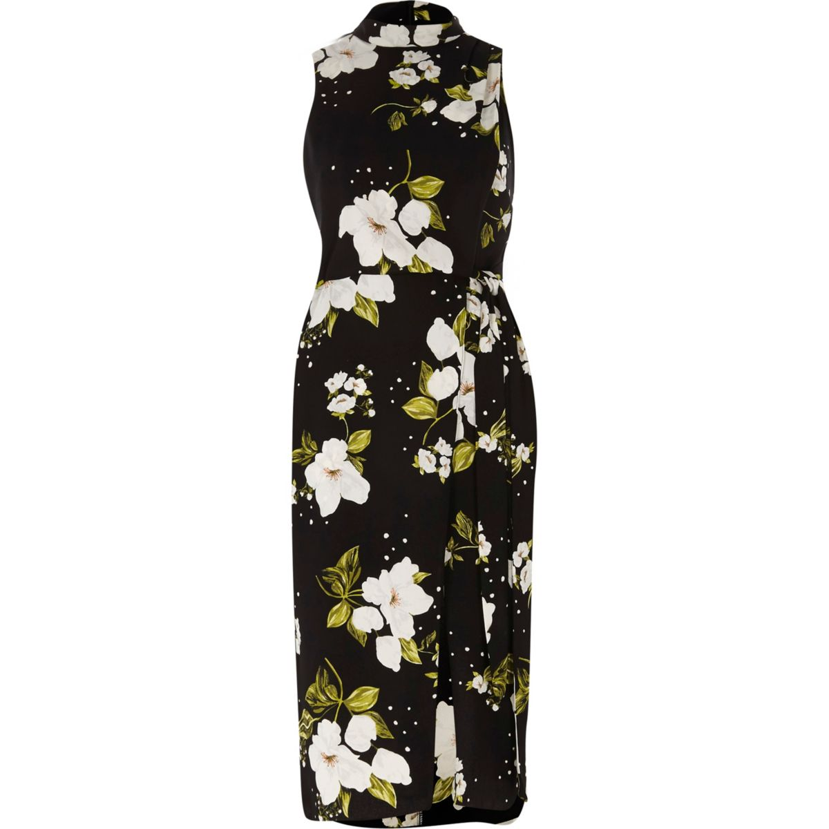Zwarte hoogsluitende midi-jurk met overslag en bloemenprint