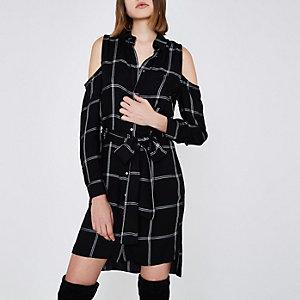 Black check cold shoulder shirt dress
