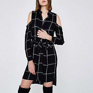 Black check cold shoulder shirt dress
