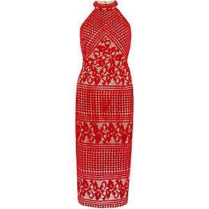 Red lace high neck midi bodycon dress